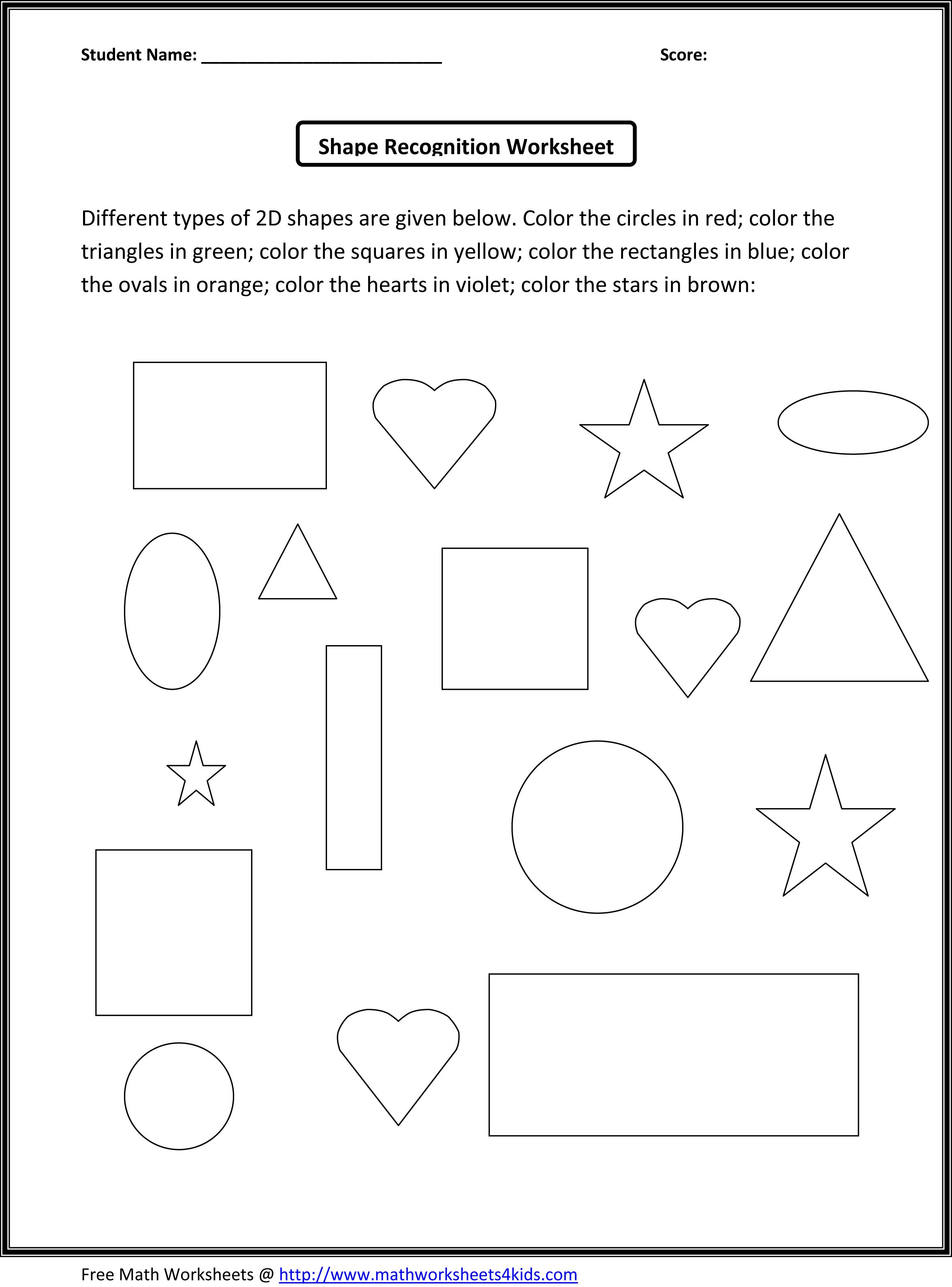 3d Shapes For Kids Worksheets Cakepins