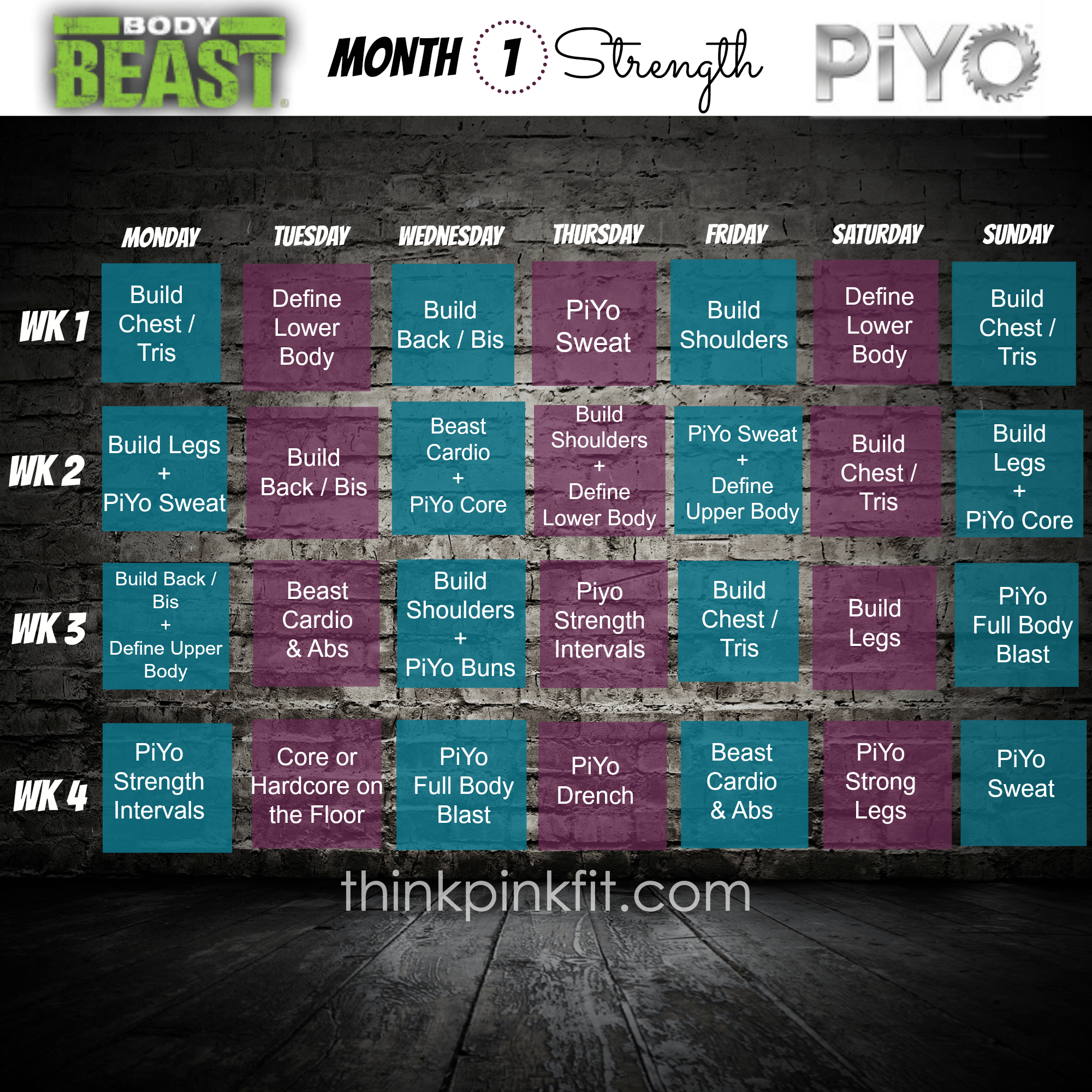 Piyo T25 Hybrid Workout Schedule