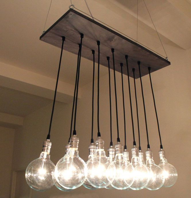 Urban Chic Chandelier With Reclaimed Wood