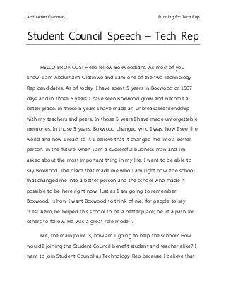 Student Council Speech Speeches Pinterest Student