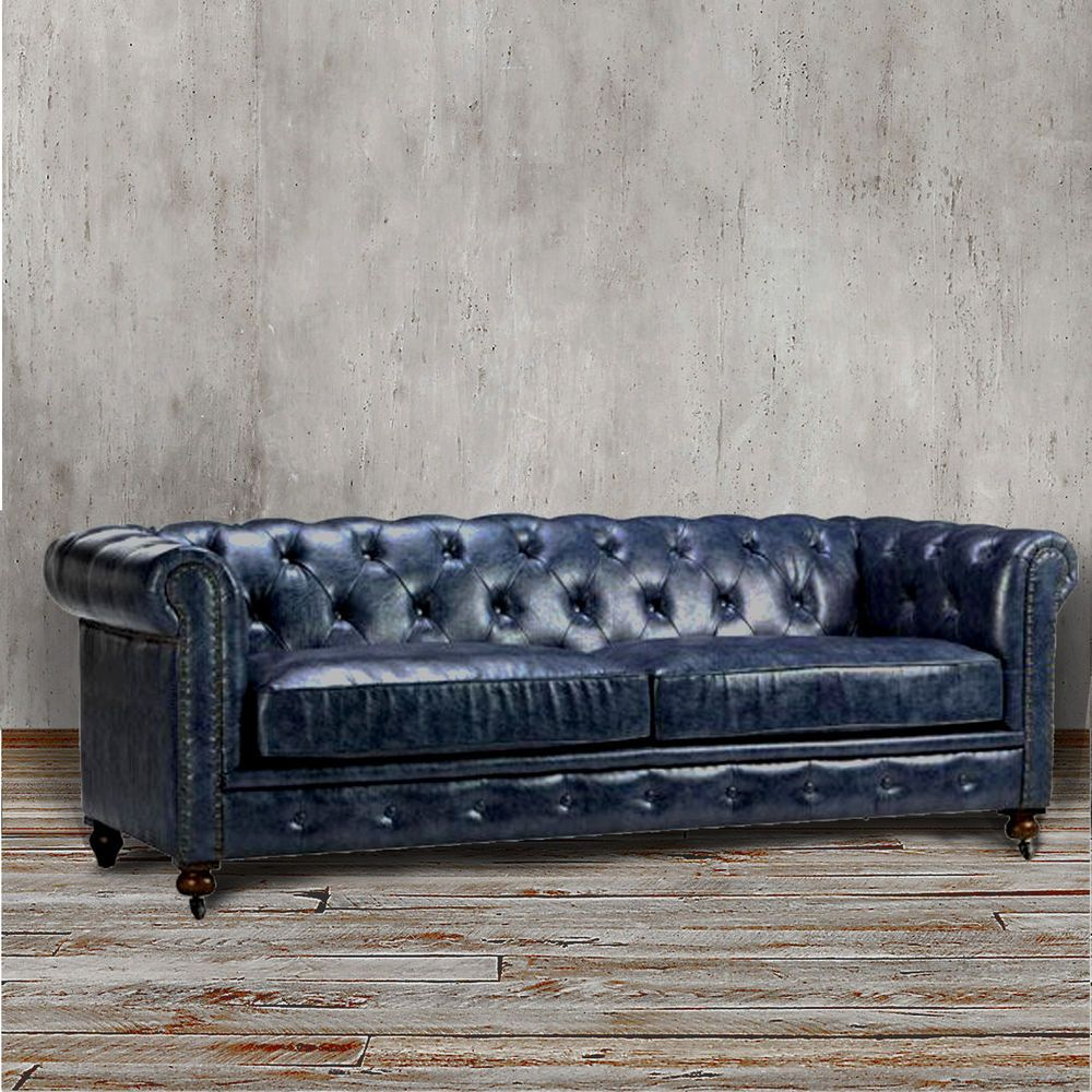 Chesterfield Sofa Blue Leather Tufted Tuxedo Navy Couch