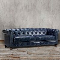 Chesterfield Sofa Blue Leather Tufted Tuxedo Navy Couch ...