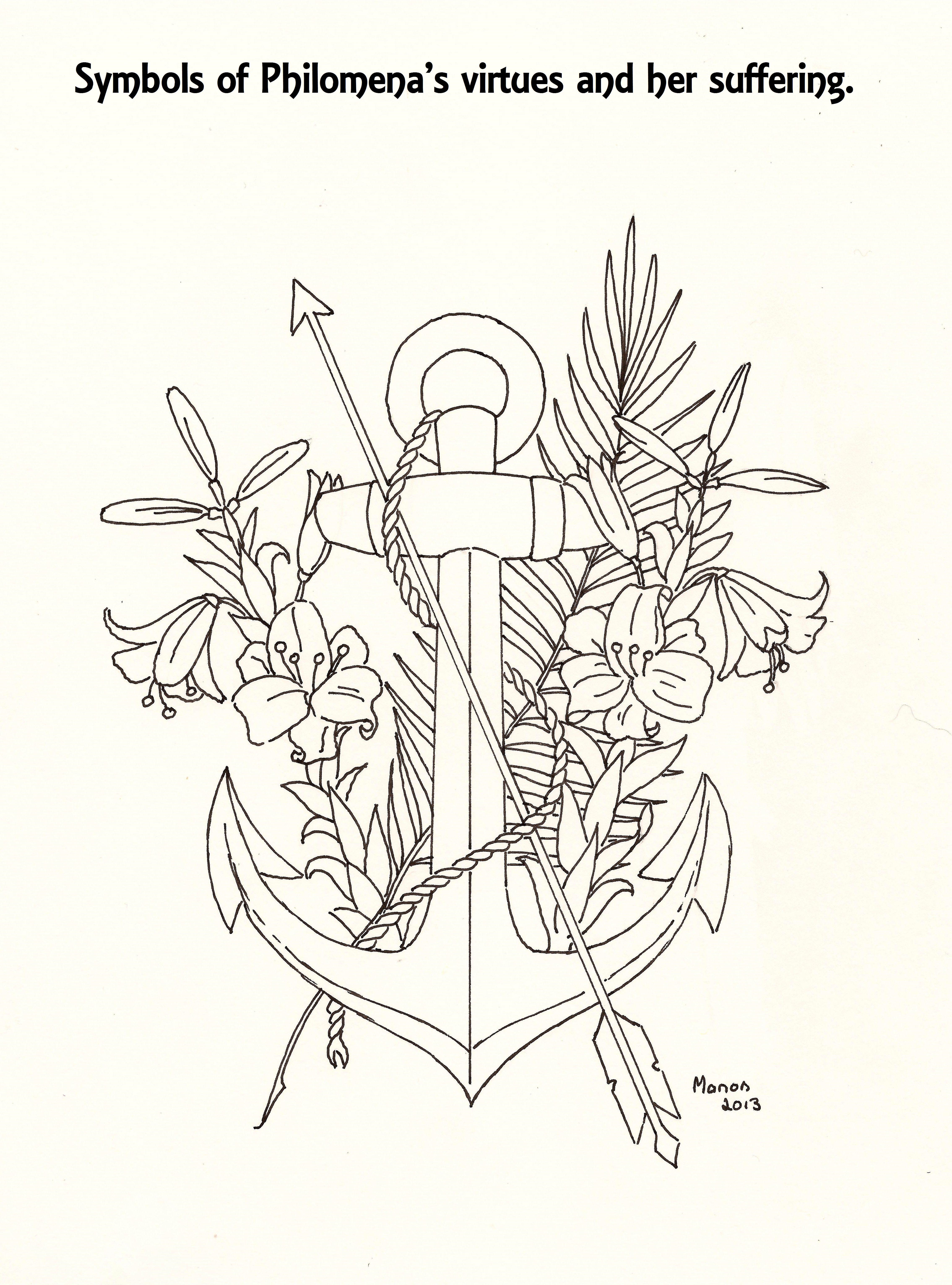 A picture to colour. Symbols of St. Philomena