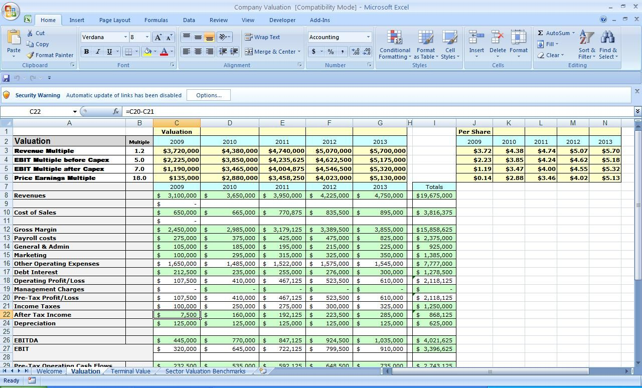 Business Plan Template Excel