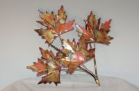 Copper Maple leaf branch: handcrafted metal sculpture,home ...
