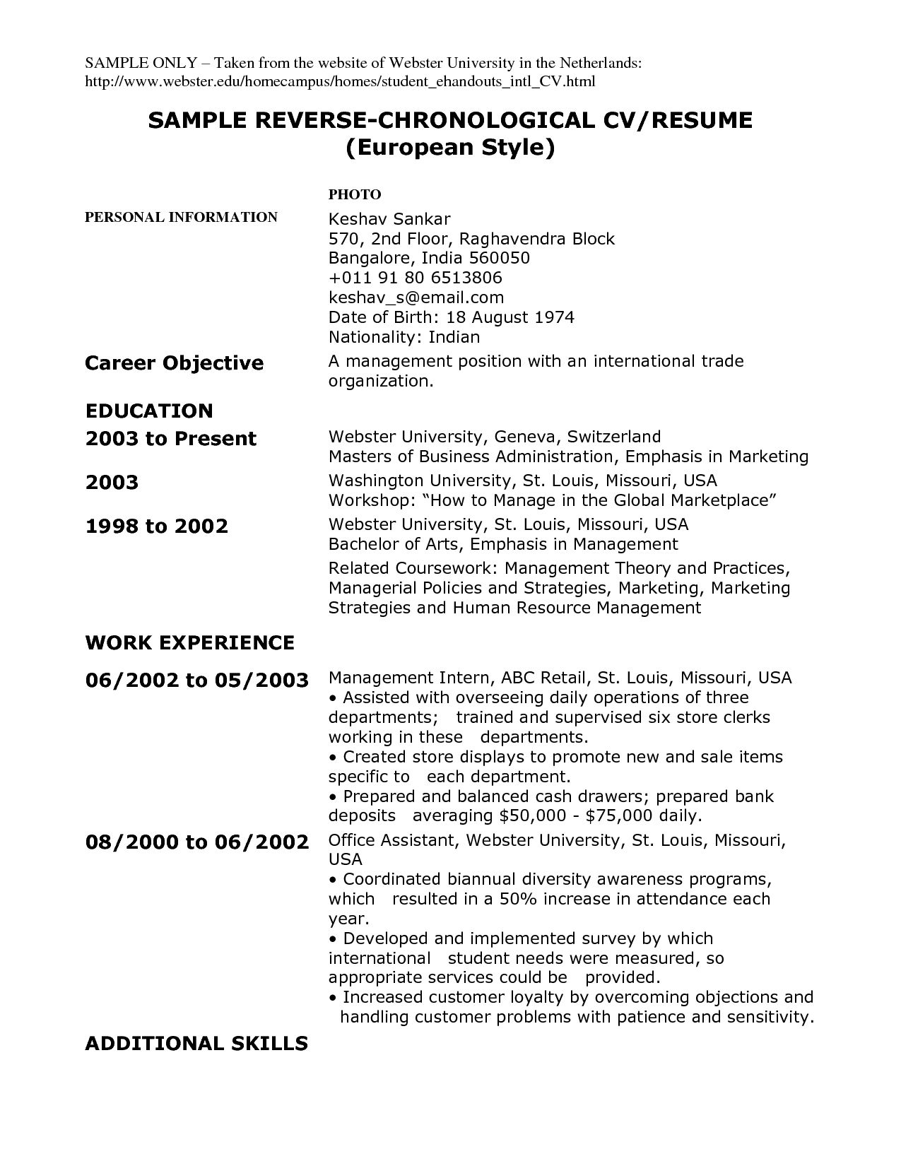 Resume Example Reverse Chronological Resume Ixiplay Free Resume