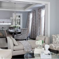 Contemporary blue and gray dining room with blue gray wall ...