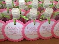 Baby girl shower favors.Sweet Pea sanitizers from Bath