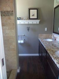 The new small master bathroom! Dark tile floors that look ...