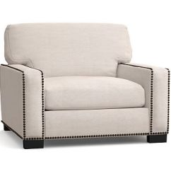 Kendrick Sleeper Chair And A Half Folding Brands Turner Square Arm Upholstered Armchair With Nailheads Potterybarn Bronze Down Blend Wrapped Cushions Premium Performance Basketweave Light Gray