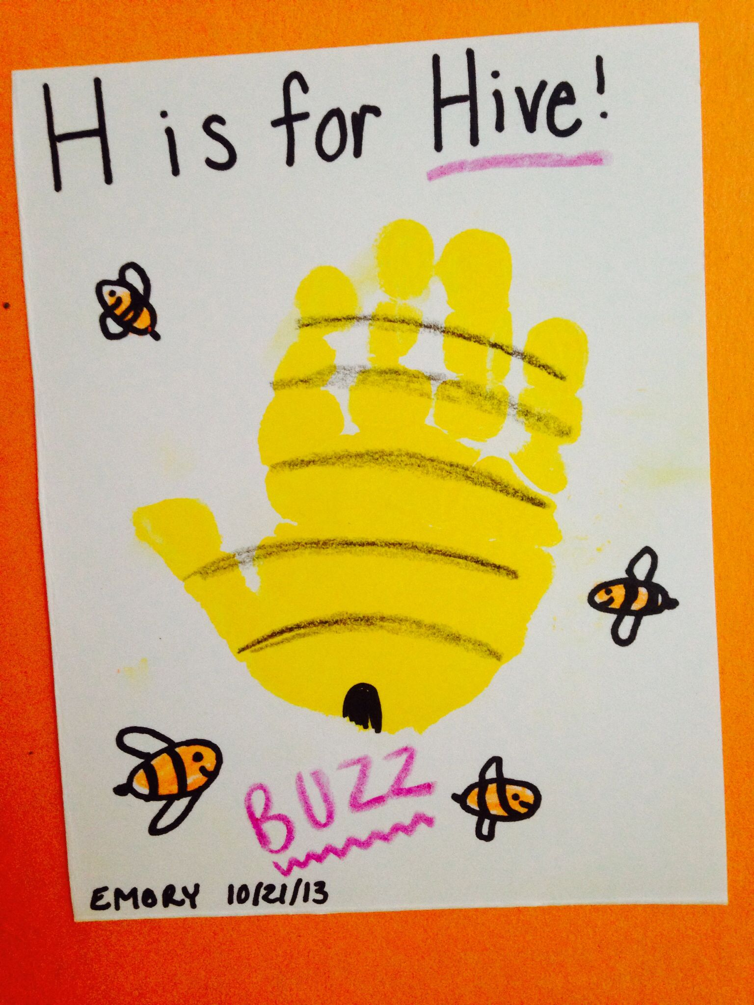 Infant Room H Is For Hive Handprint