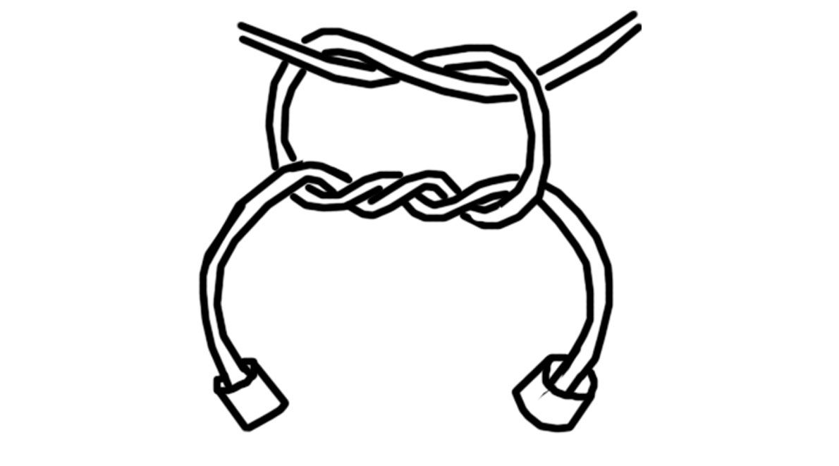 Surgeon's Knot for tying elastic cord (stretch bracelets