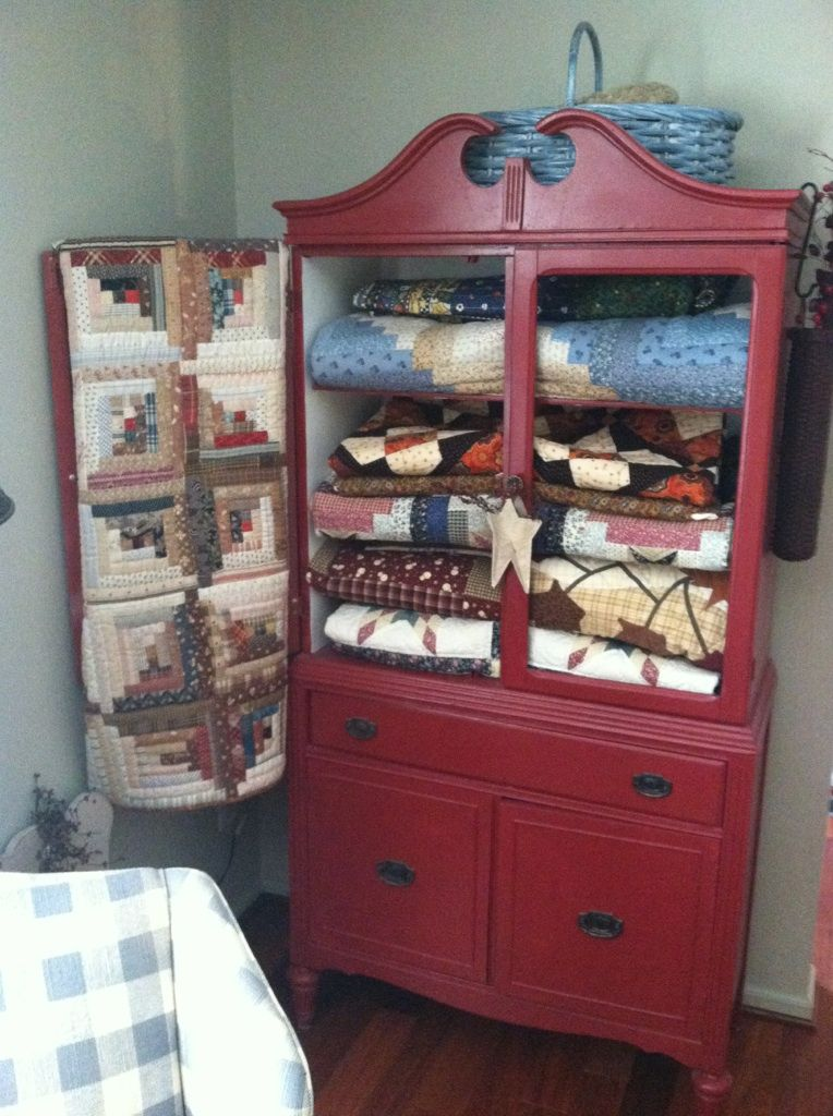My quilt cabinet  Decorating with Quilts  Pinterest