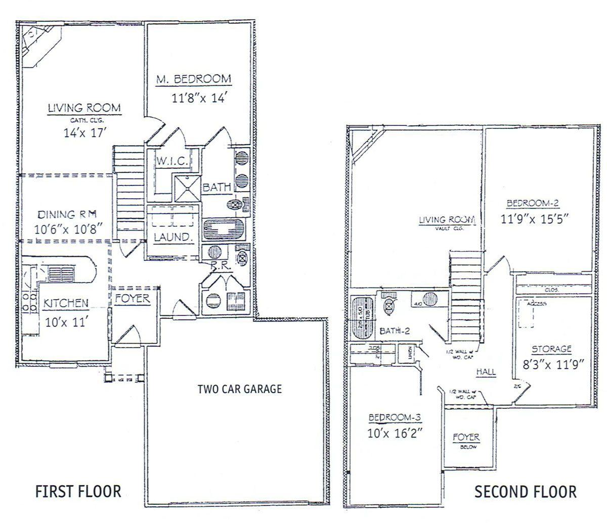 3 bedrooms floor plans 2 story