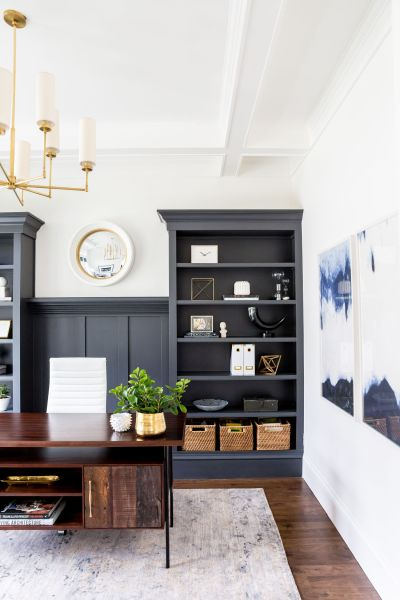 painted home office built ins Foothill Drive Project: Office | Indigo, Paint colors and