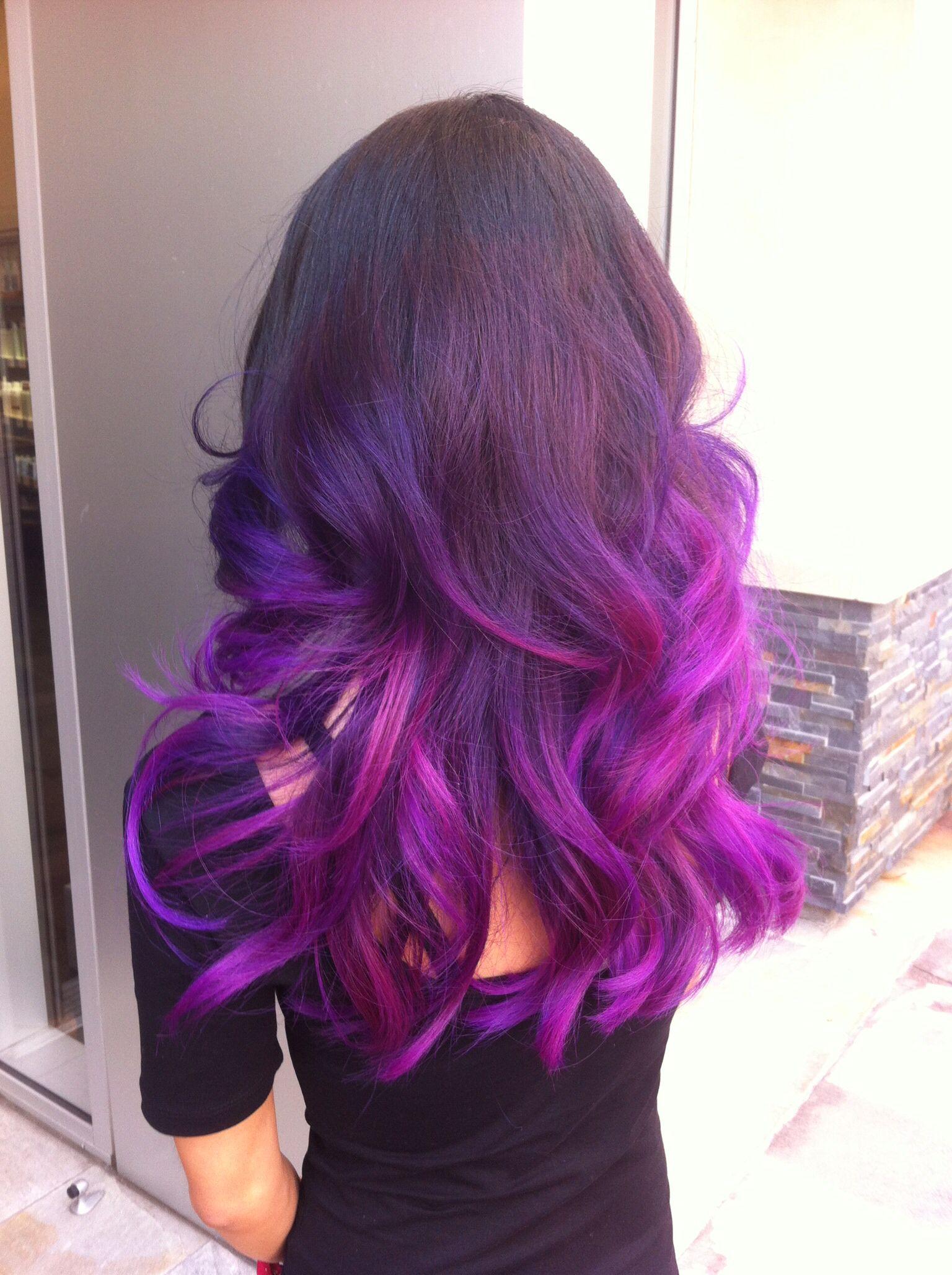 My Hair Black Base Purple To Magenta Ombré Purple&Pink Ombré