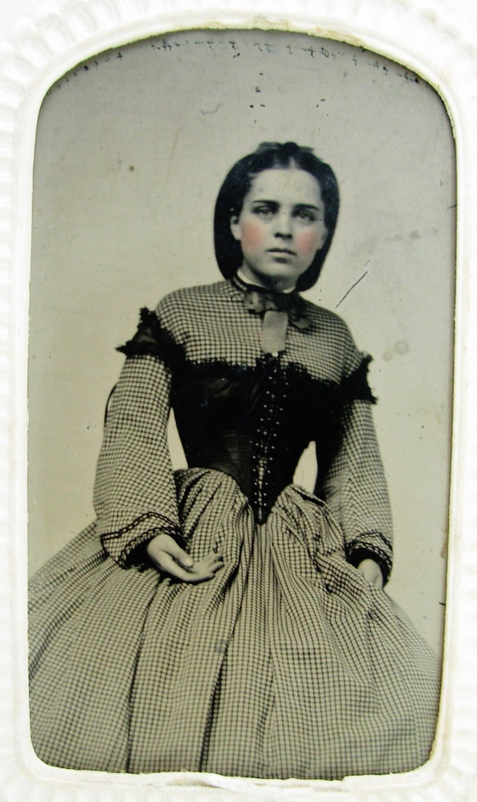 Antique Civil War Era Tintype Photo Young Beauty Checked