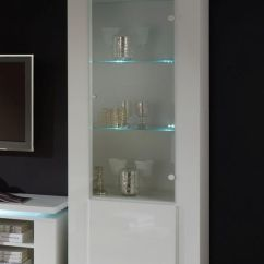 Tall Storage Units For Living Room Decorative Things Bianca, Modern Display Cabinet With Lights In White ...