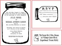 Mason Jar Wedding invitation Rubber Stamp SET with