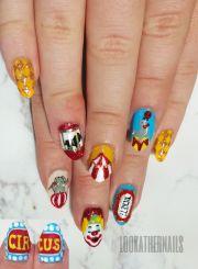 circus carnival nail art lookathernails