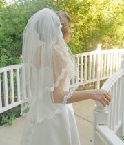 elbow length two tier lace wedding