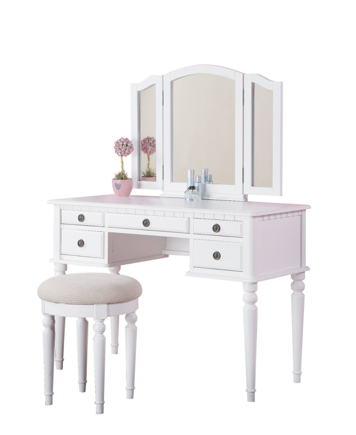 amazonsmile: bobkona st. croix collection vanity set with stool