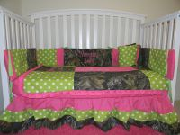 Camo Mossy Oak with lime polka dots and pink baby Crib ...