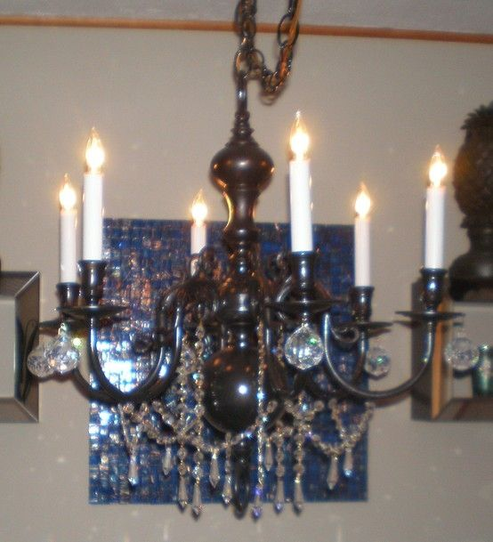 My First Recycled Chandelier I Took An Old Brass And Cleaned It Up All Was A Can Of Black Spray Paint Some Crystals Obtained From