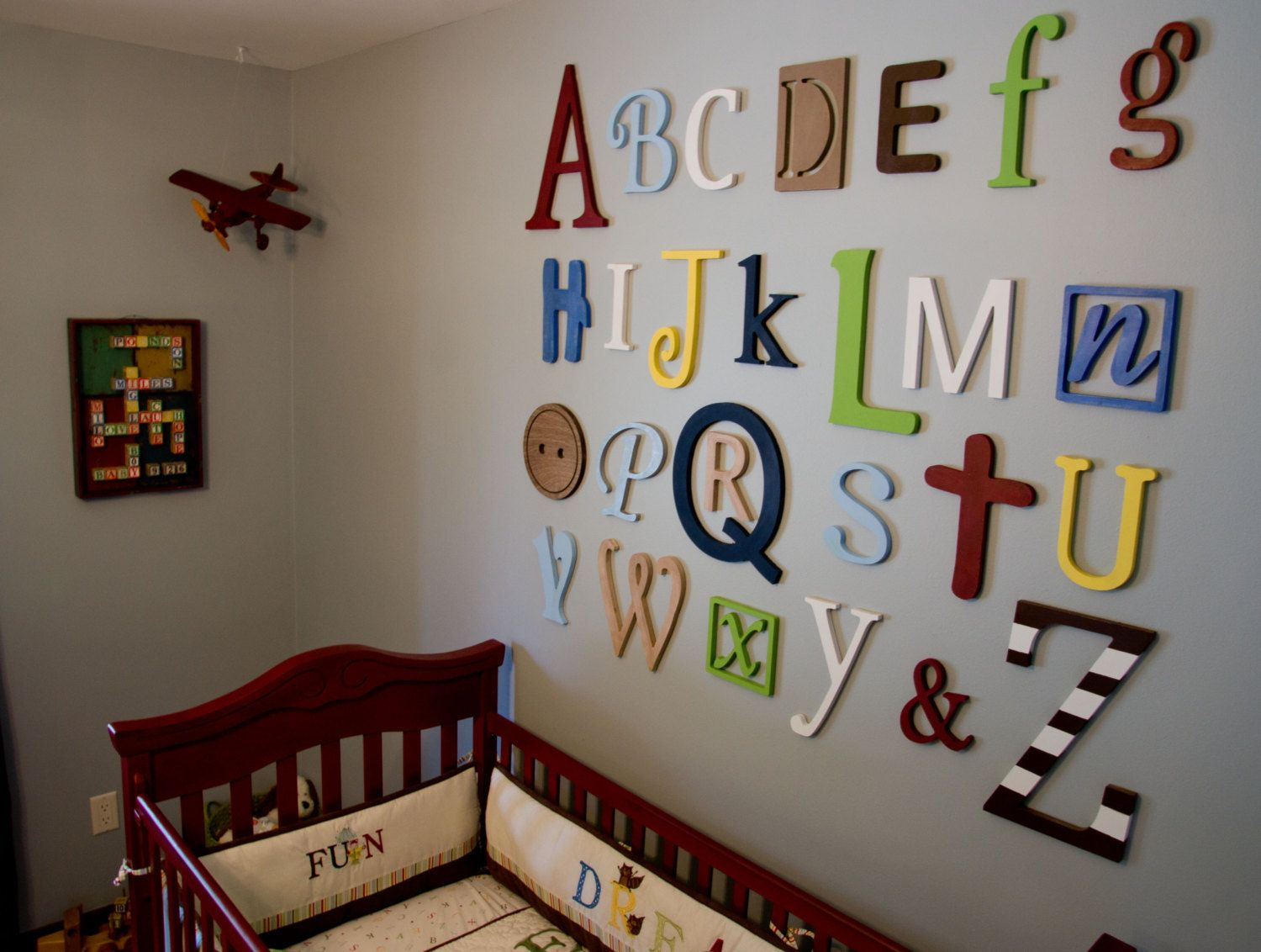 Unfinished Wooden Alphabet Set In Mixed Fonts And Sizes