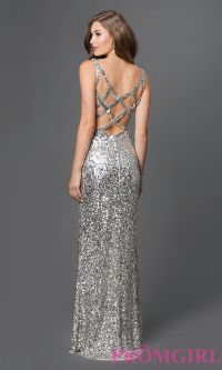Long Silver Sequin Evening Dress | Insured Fashion