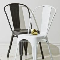 Black and white metal dining chairs for industrial feel ...