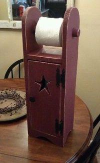 Primitive toilet paper holder/ storage/ home decor ...