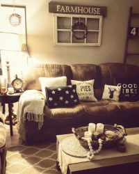Rustic living room, farmhouse, brown couch, cozy home ...