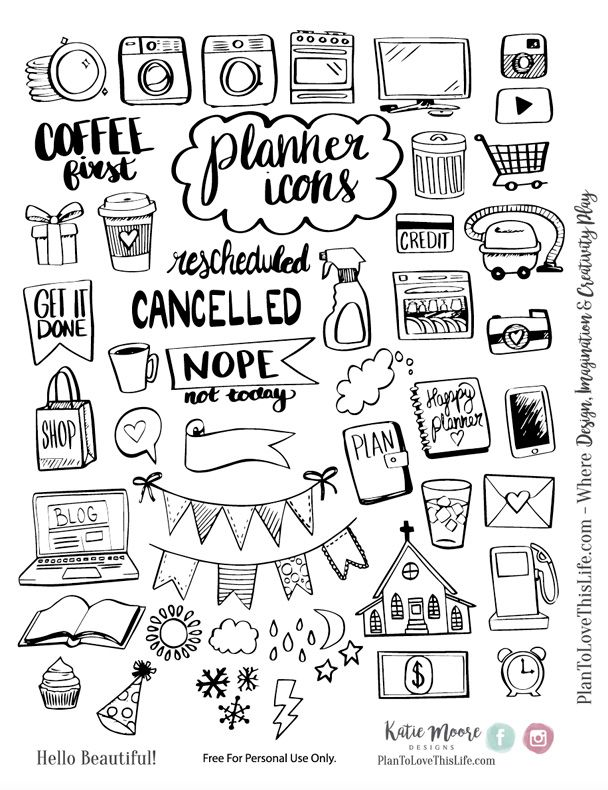 Free Printable Hand Drawn Planner Icons from Plan to Love