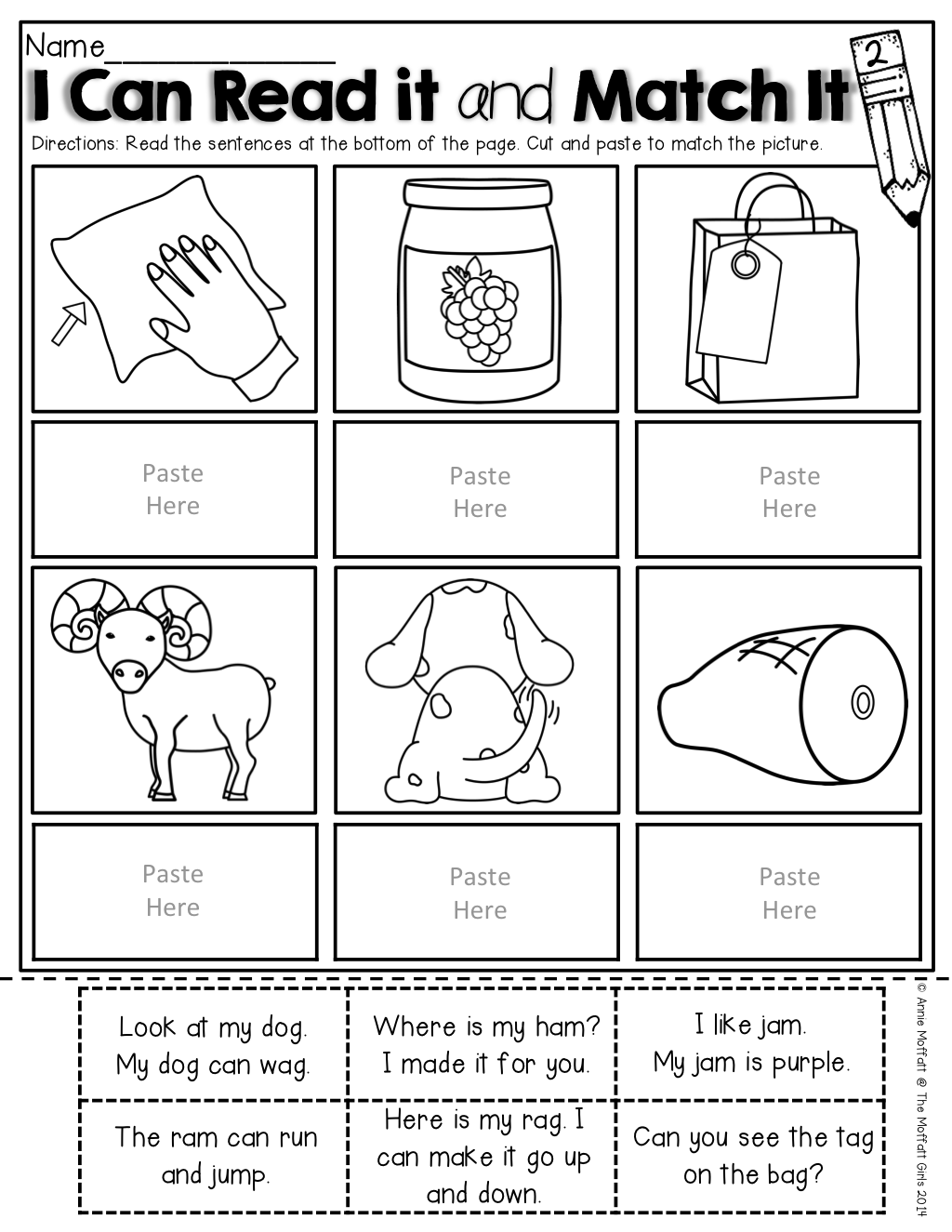 Free Product I Can Read It And Match It Simple Sentences With Pre Primer Sight Words And