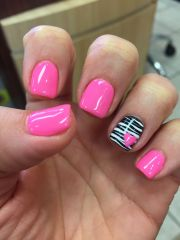 gel mani shellac zebra pink valentine