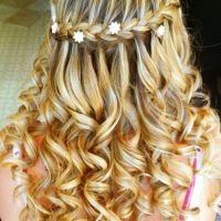 Wedding hair I did. Waterfall braid with hair jewels ...