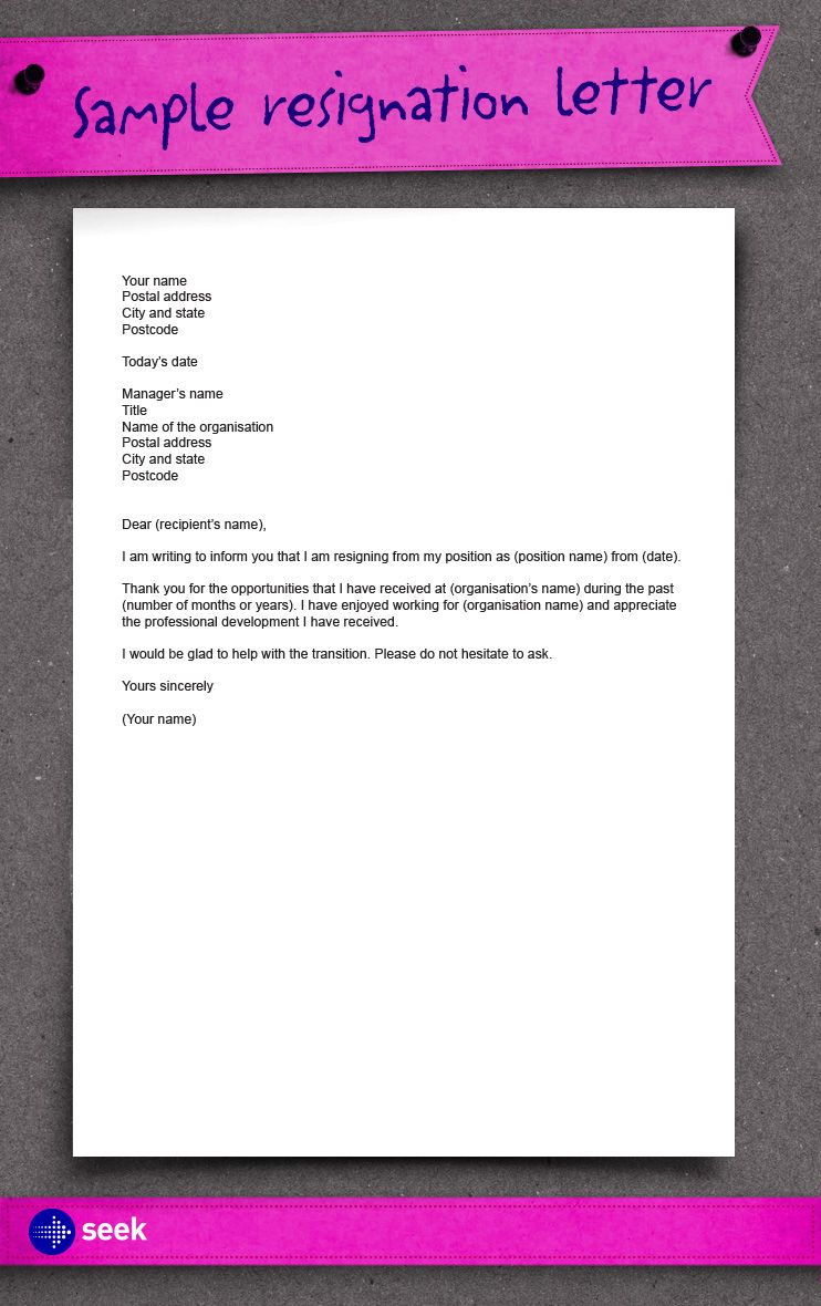 Resign Letter In Word Format