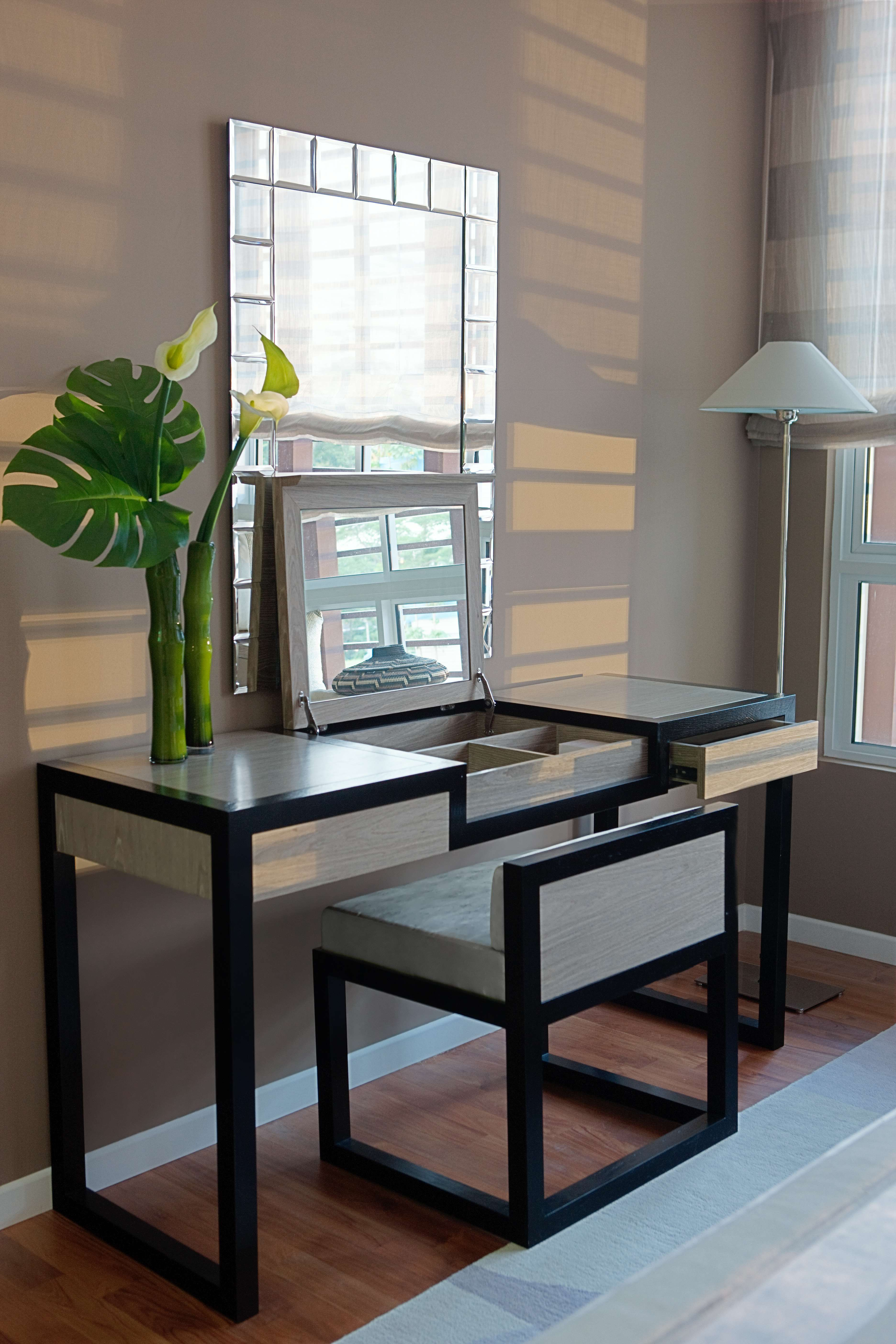 Furniture Modern Black Bedroom Vanity With Upholstered