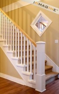 white baluster, stained handrail - Google Search ...