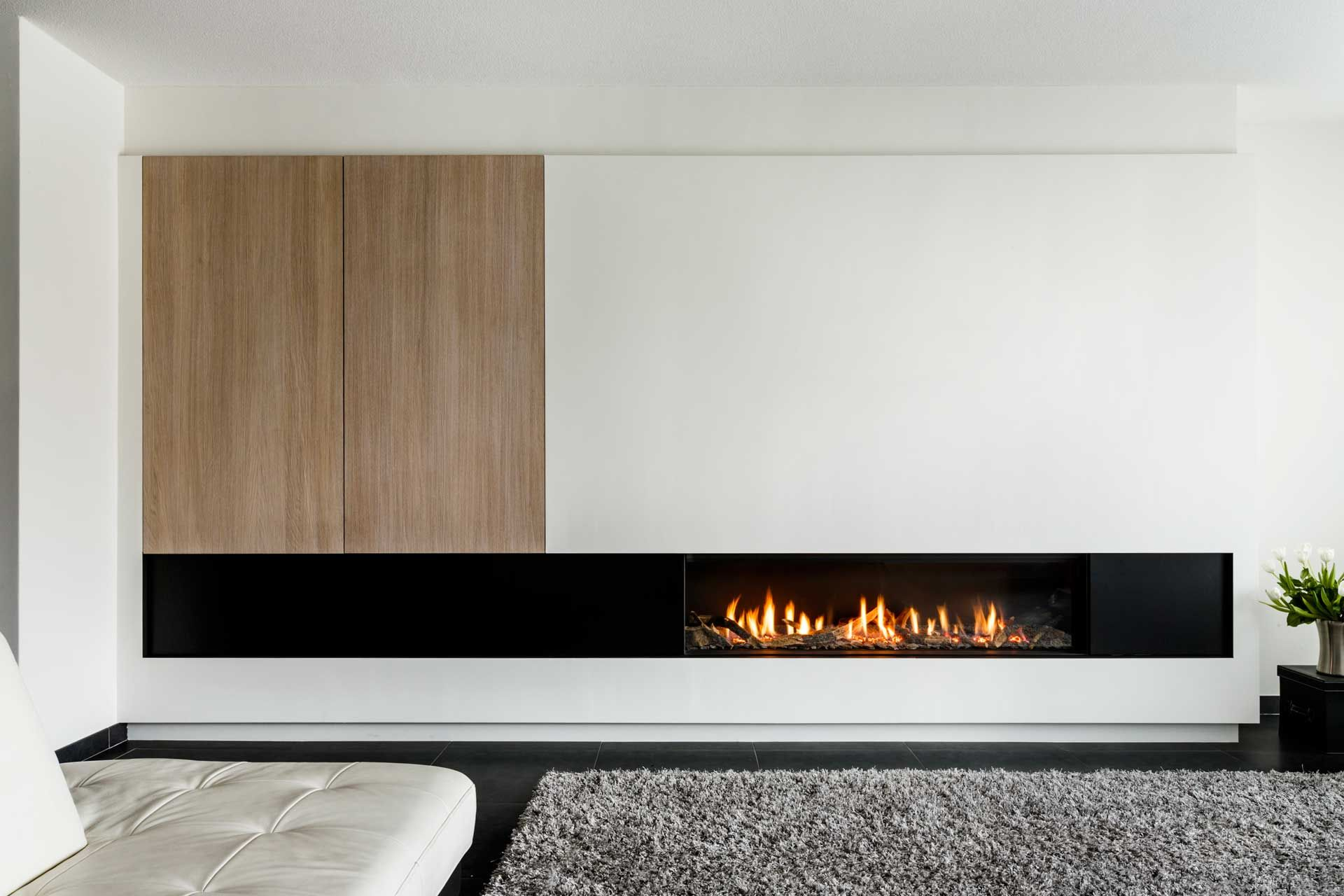 Extra Long Linear Fireplace With Mixed Materials Perfect
