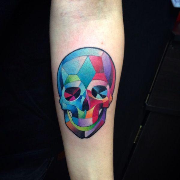skull watercolor tattoo cubism