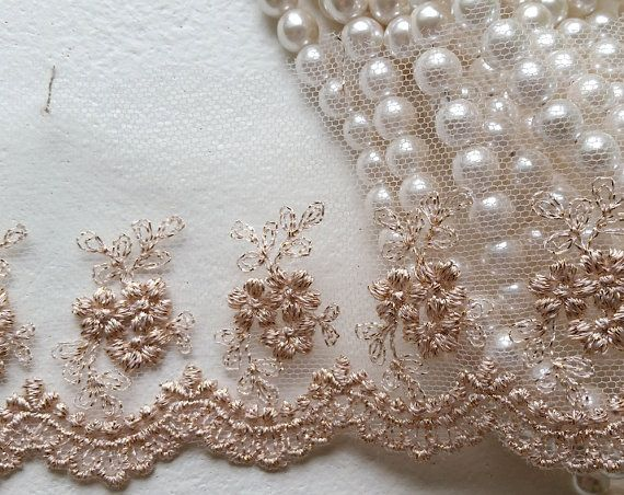 35 Rose Gold Vintage Lace Trim Embroidered Gauze Lace Lovely Floral Embroidery Tulle Fabric