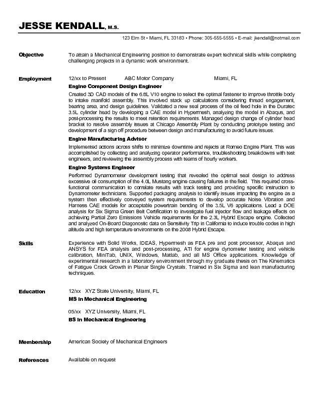 Engineering Resume Objectives Sample