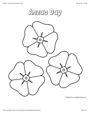Anzac Day coloring page with a picture of 3 poppies to