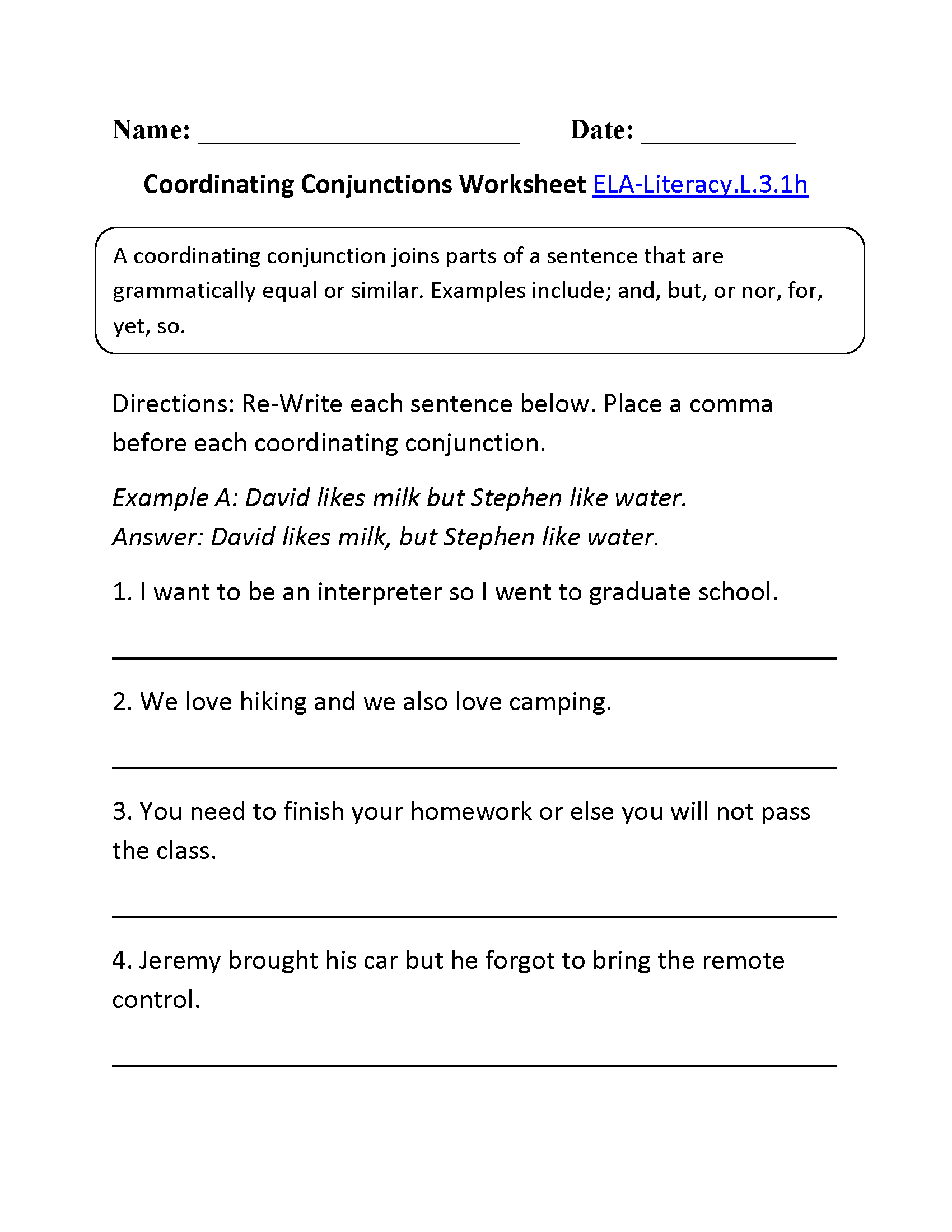 Coordinating Conjunctions Worksheet 2 L 3 1