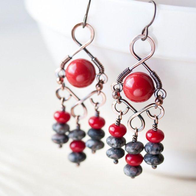 C Red Bohemian Chandelier Earrings Wire Wred Swarovski Glass Pearl And Gray Jasper
