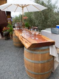 DIY outdoor bar ideas using wine barrels | garden decor ...