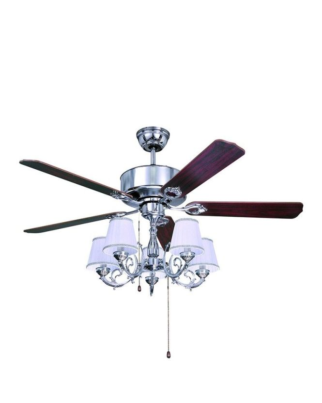 5 Lights Traditional Style Chrome Ceiling Fan With Chandelier Kit