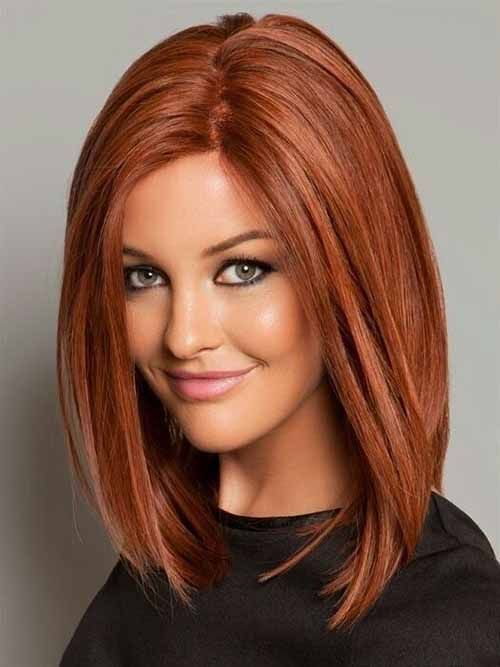 Medium Length Straight Bob With Chestnut Red Hair Color And Low